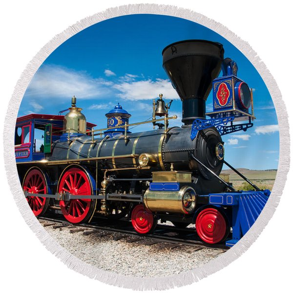 Historic Jupiter Steam Locomotive - Promontory Point Round Beach Towel