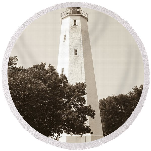 Historic Sandy Hook Lighthouse Round Beach Towel