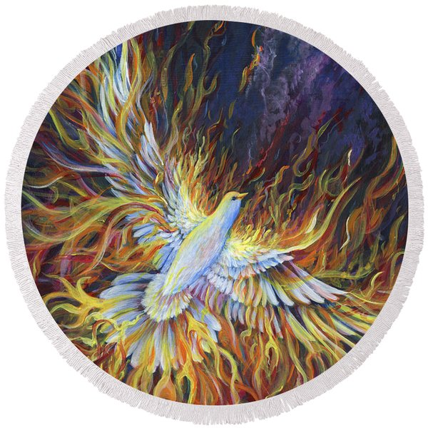 Round Beach Towel featuring the painting Holy Fire by Nancy Cupp