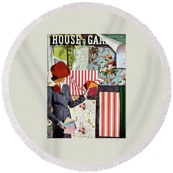 House & Garden Cover Illustration Of A Woman Round Beach Towel