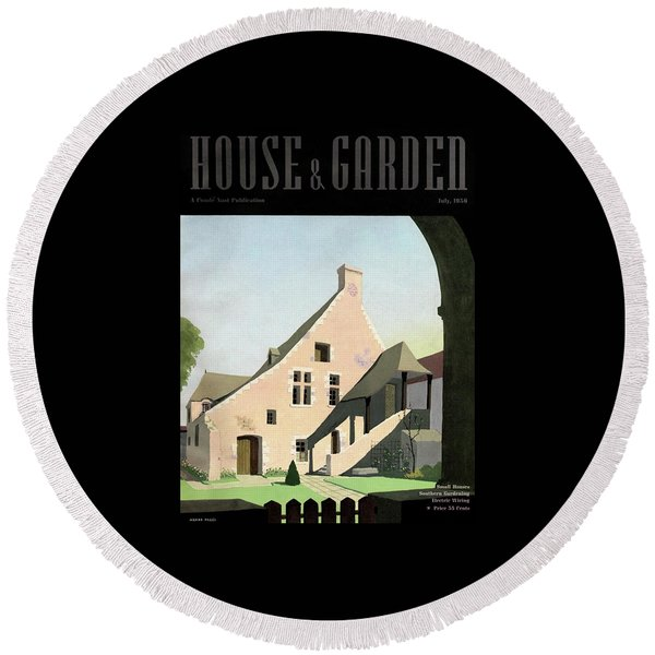 House & Garden Cover Illustration Of An Historic Round Beach Towel
