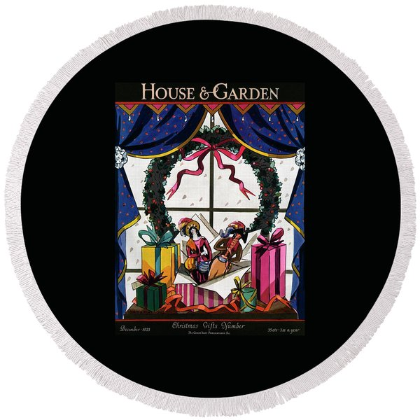 House & Garden Cover Illustration Of Christmas Round Beach Towel