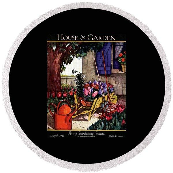 House & Garden Cover Illustration Of Garden Scene Round Beach Towel