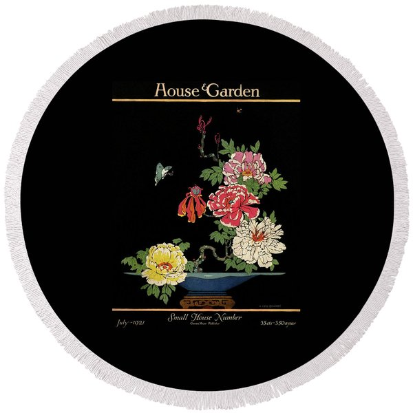 House & Garden Cover Illustration Of Peonies Round Beach Towel