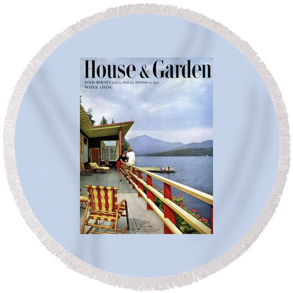 House & Garden Cover Of Women Sitting On The Deck Round Beach Towel
