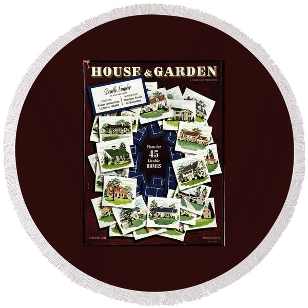 House And Garden Cover Featuring A Collage Round Beach Towel
