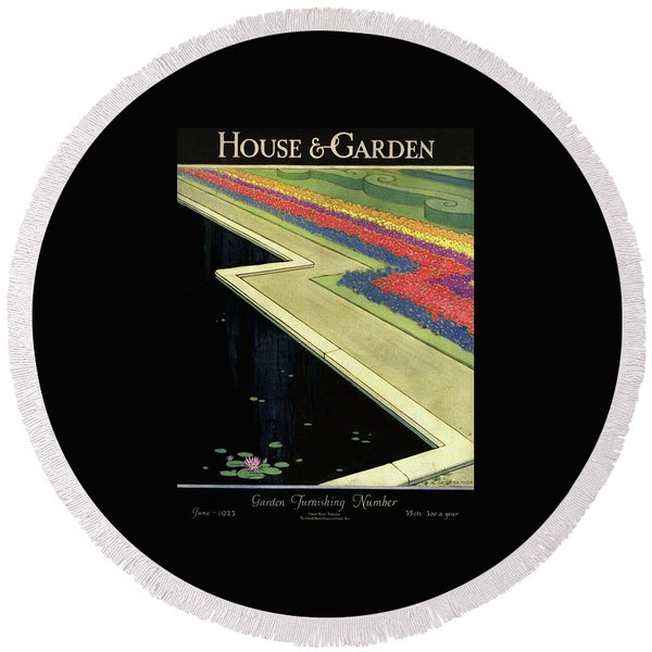 House And Garden Furnishing Number Round Beach Towel