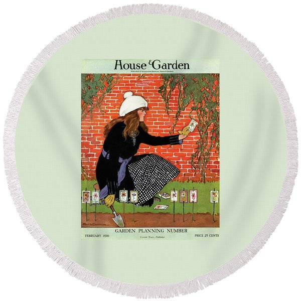House And Garden Garden Planting Number Cover Round Beach Towel