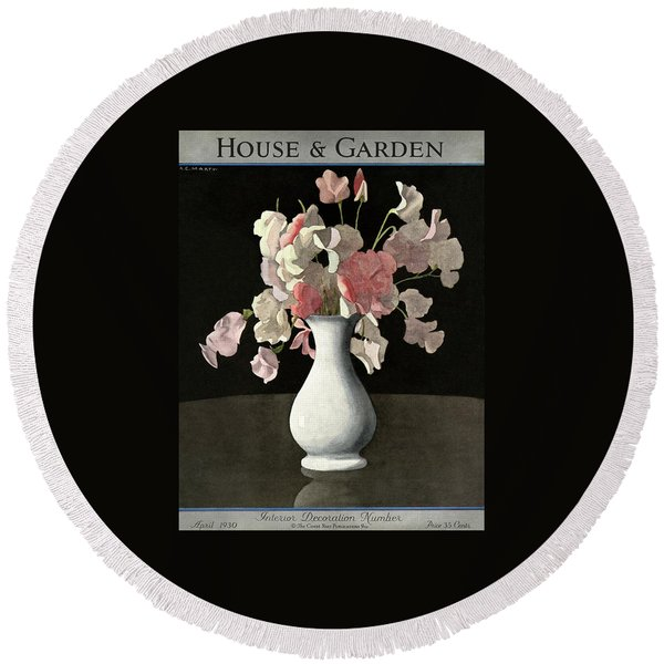 House And Garden Interior Decoration Number Round Beach Towel
