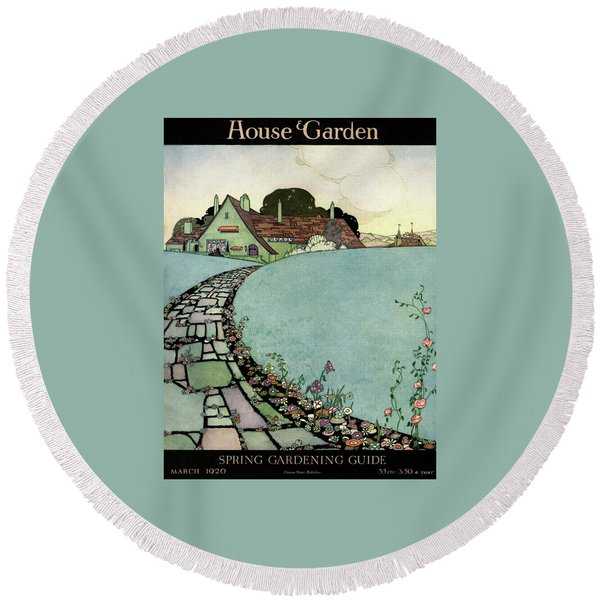 House And Garden Spring Garden Guide Round Beach Towel
