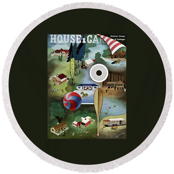 House And Garden Summer Camps And Cottages Cover Round Beach Towel