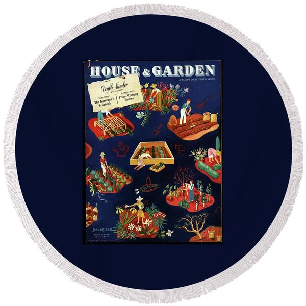 House And Garden The Gardener's Yearbook Cover Round Beach Towel