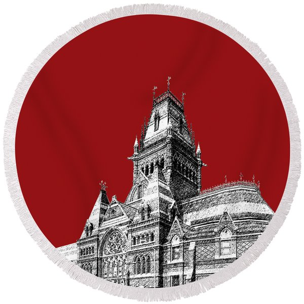 Harvard University - Memorial Hall - Dark Red Round Beach Towel