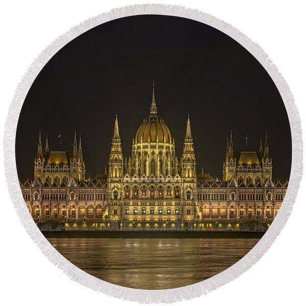Hungarian Parliament Building Night Round Beach Towel