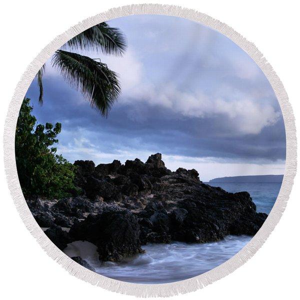 I Ke Kai Hawanawana Eia Kuu Lei Aloha - Paako Beach Maui Hawaii Round Beach Towel