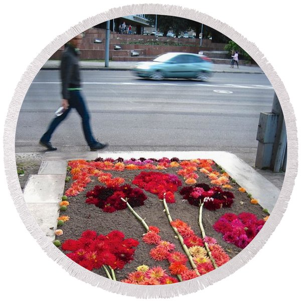 Round Beach Towel featuring the photograph I See Flowers For You Everywhere by Mary Lee Dereske