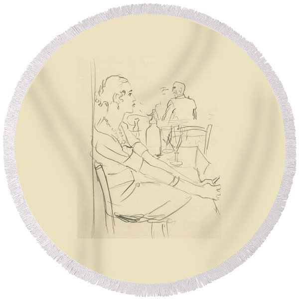 Illustration Of A Woman Sitting Down Round Beach Towel