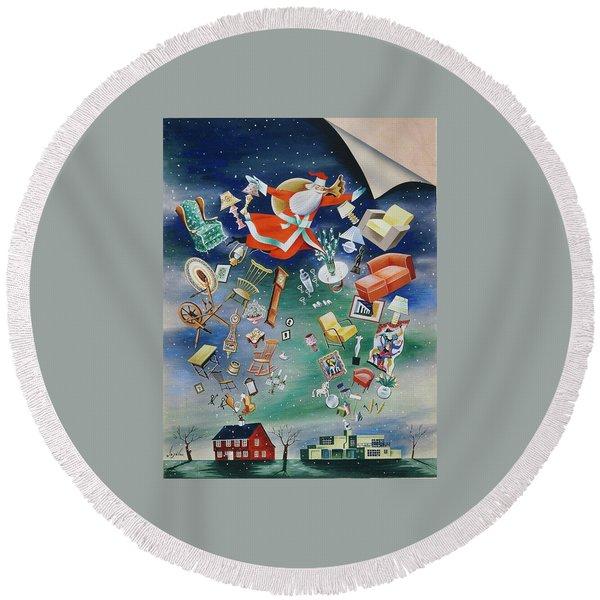 Illustration Of Santa Claus Round Beach Towel