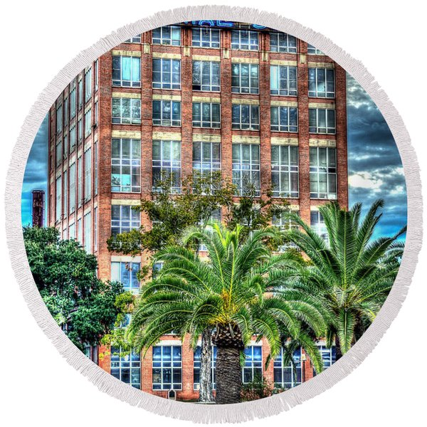 Imperial Sugar Factory Daytime Hdr Round Beach Towel
