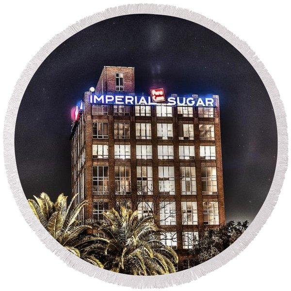 Imperial Sugar Mill Round Beach Towel