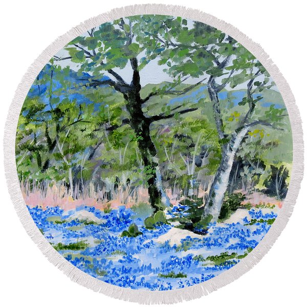 In April-texas Bluebonnets Round Beach Towel