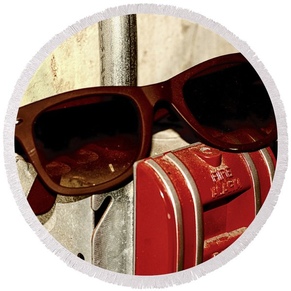 In Case Of Fire Grab Shades Round Beach Towel
