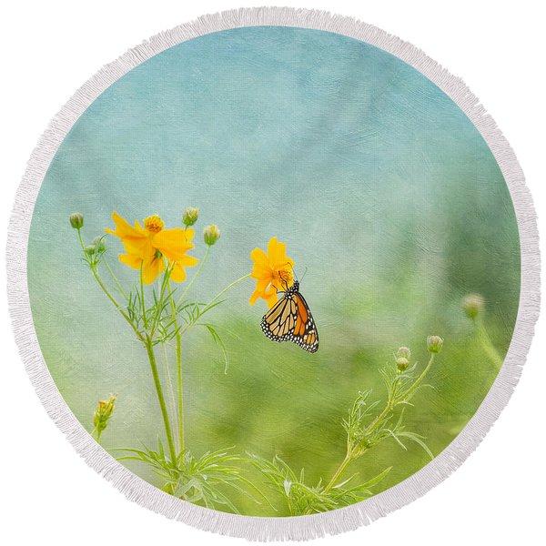 In The Garden - Monarch Butterfly Round Beach Towel