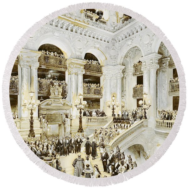 Inauguration Of The Paris Opera House, 5th January 1875, 1878 Wc & White On Paper Round Beach Towel