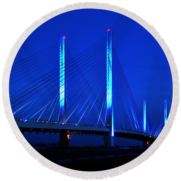 Indian River Bridge At Night Round Beach Towel