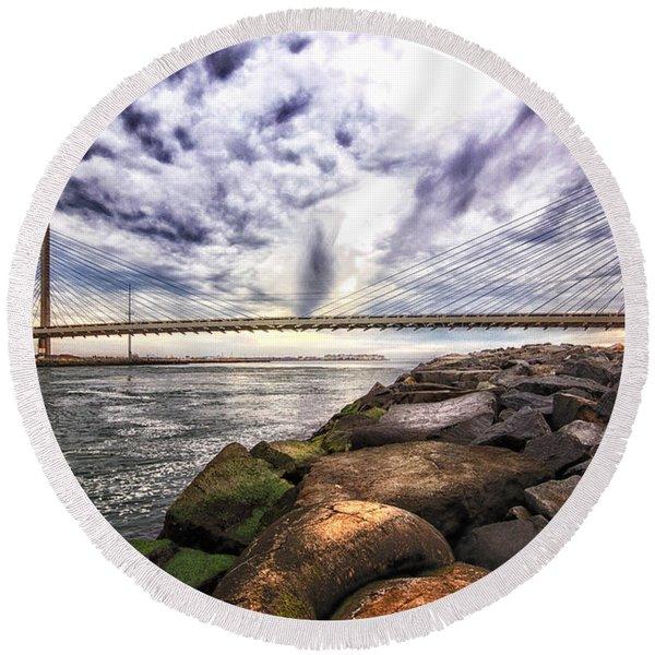 Indian River Bridge Clouds Round Beach Towel