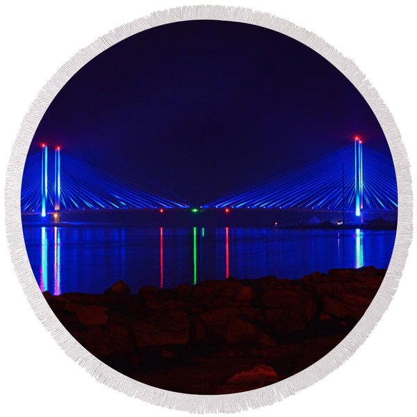 Indian River Inlet Bridge After Dark Round Beach Towel
