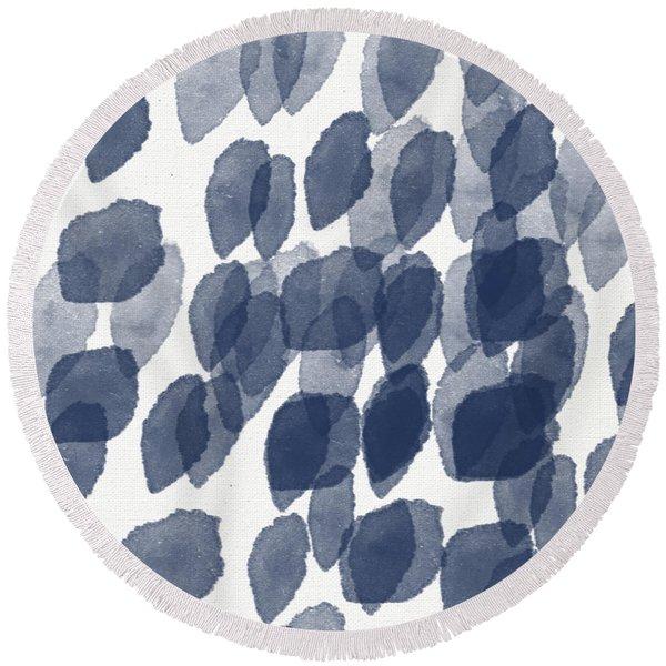 Indigo Rain- Abstract Blue And White Painting Round Beach Towel