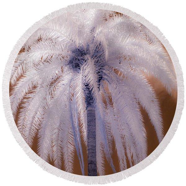 Infrared Palm Tree Round Beach Towel