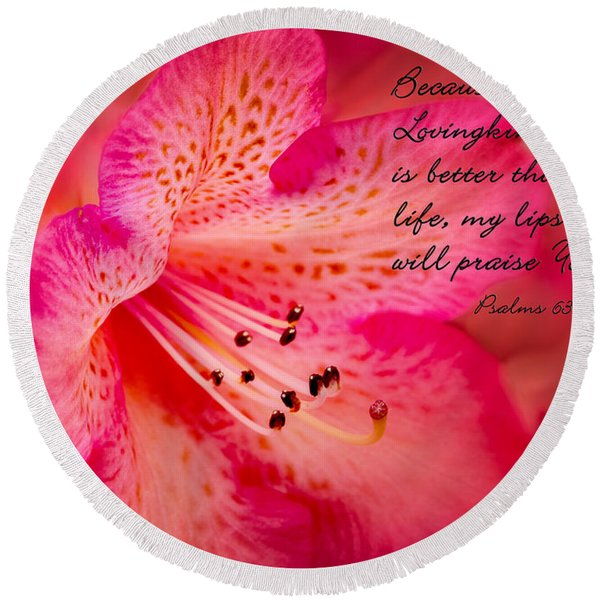 Inspirational Rhododendron Round Beach Towel