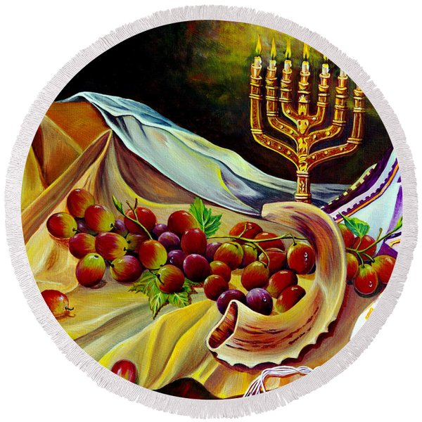 Round Beach Towel featuring the painting Intercession by Nancy Cupp