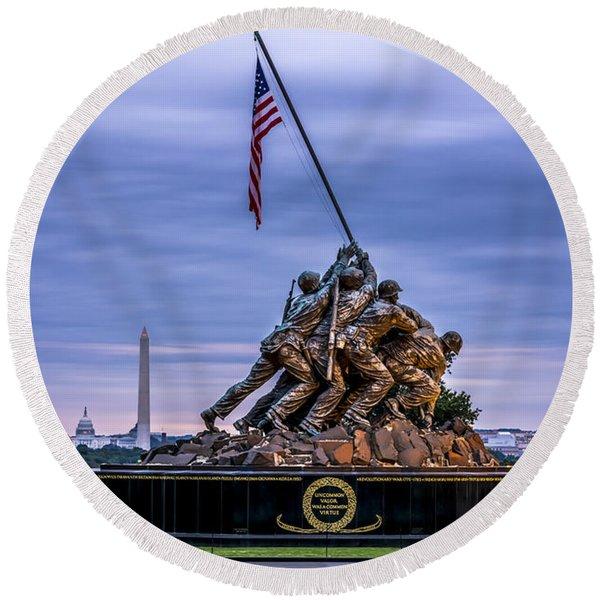 Iwo Jima Monument Round Beach Towel