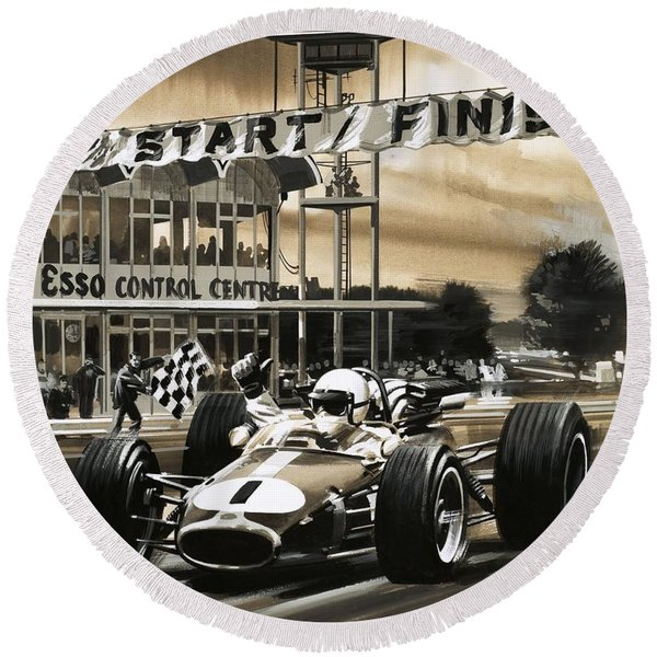 Jack Brabham Wins The First Ever Canadian Grand Prix Round Beach Towel