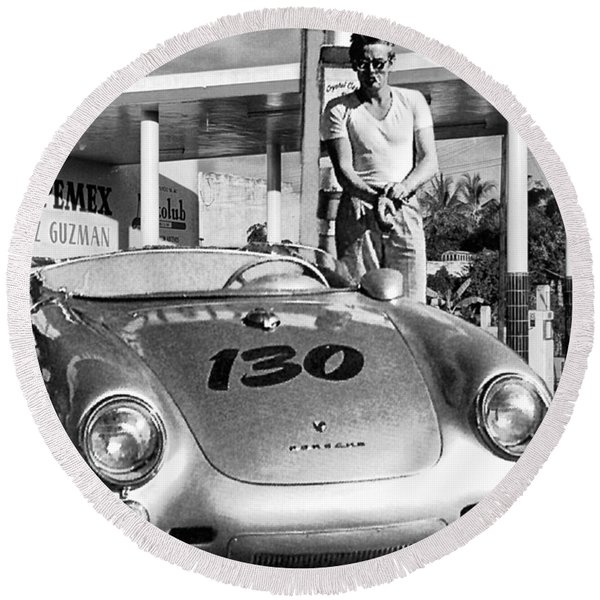 Last Picture Taken Of James Dean Round Beach Towel