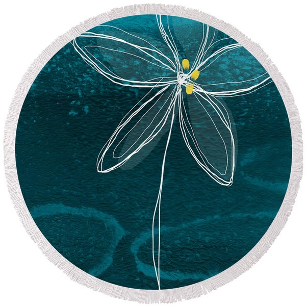 Jasmine Flower Round Beach Towel