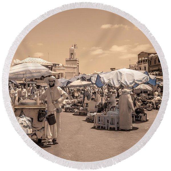Jemaa El Fna Market In Marrakech Round Beach Towel