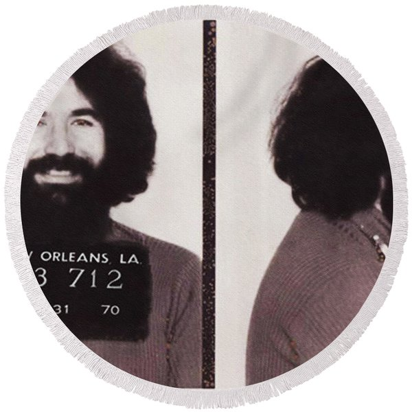 Round Beach Towel featuring the photograph Jerry Garcia Mugshot by Digital Reproductions
