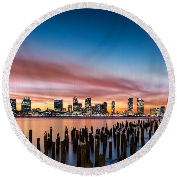 Jersey City Skyline At Sunset Round Beach Towel