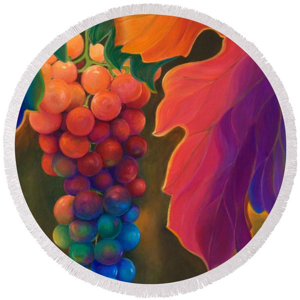 Jewels Of The Vine Round Beach Towel