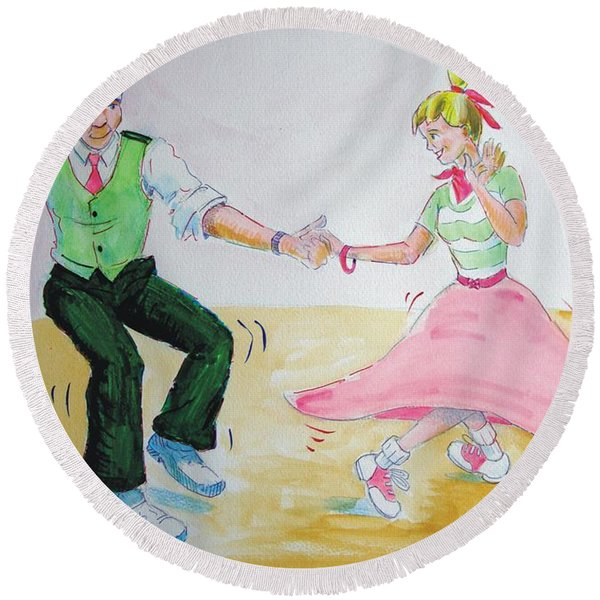 Jive Dancing Cartoon Round Beach Towel