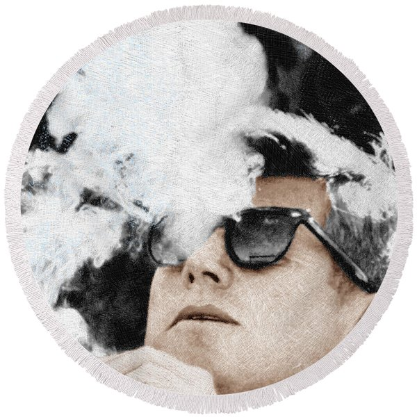 John F Kennedy Cigar And Sunglasses Round Beach Towel