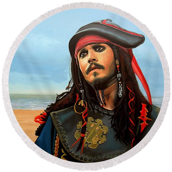 Johnny Depp As Jack Sparrow Round Beach Towel