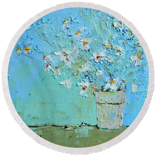 Joyful Daisies, Flowers, Modern Impressionistic Art Palette Knife Oil Painting Round Beach Towel