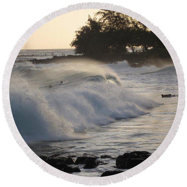 Kauai - Brenecke Beach Surf Round Beach Towel