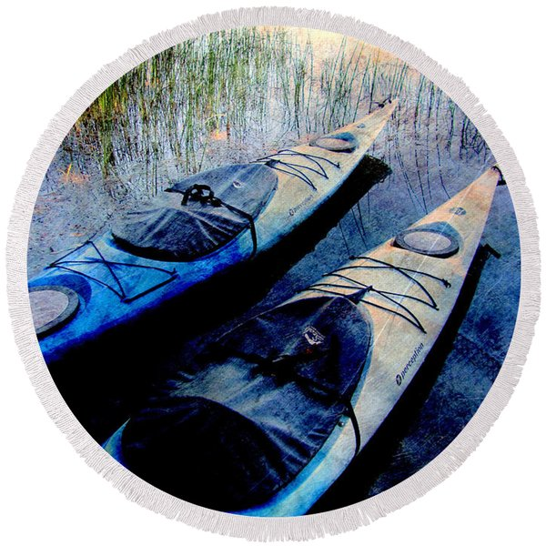 Kayaks Resting W Metal Round Beach Towel