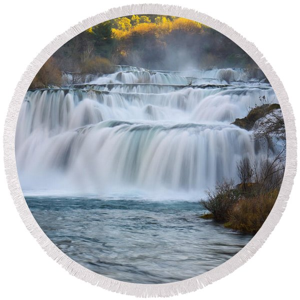 Krka Waterfalls Round Beach Towel